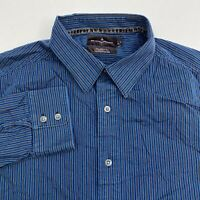 Black Brown Button Up Shirt Men's Size 2XL XXL Long Sleeve Blue Brown Striped