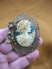 (CL14-34) NOBLE Lady with flowers blue + ivory CAMEO Pin Pendant brooch necklace