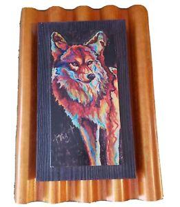 Meg Harper coyote mixed materials tin roof, wood, reclaimed southwest art rare