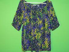 IZOD Women's Size 1X 100% Rayon Floral / Geometric Short Slv Shirt / Top