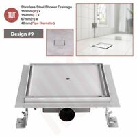 "150mm ""Square"" Stainless Steel Shower, Wetroom Drainage Gully - Tile Inlay Model"