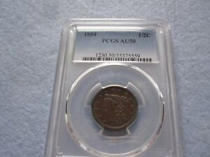 1854 Braided Hair Half Cent PCGS graded AU50 (1/2 C Better Date Low Mintage)