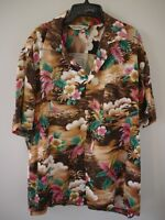 Vintage Brown Colorful Genuine Hawaiian Aloha Holiday Short Sleeve Shirt