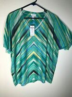 Chico's Pull-On Stretch Colorfull Stripes Metallic Studs Embellished Tunic 3/L