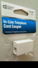 Commercial Electric 191 430 In-line Telephone Phone Cord Coupler White