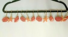 12 Beach House Pink Seashells Ocean Nautical Tropical Shower Curtain Hooks Set