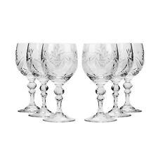 8.8 Oz. Crystal Cut Wine Glasses, Vintage Old-Fashioned Wine Goblets, 6-pc Set