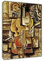 Violin AND Grape Paint By Pablo Picasso Reprint On Framed Canvas Wall Art Decor