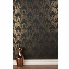 Arthouse Sparkle Glitter Wallpaper Gold/Black FAN PATTERN DECORATING SAME BATCH