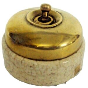 Vintage Brass & Ceramic Victorian Electric Switches, Britain Made