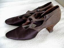 Edwardian 1920's Brown Brocade Satin H-Strap Button Ladies Heels Shoes 5 1/2Aa