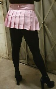 Sissy Check Micro Mini Skirt Women's Pink Little Pleats Girls Tartan High Waist