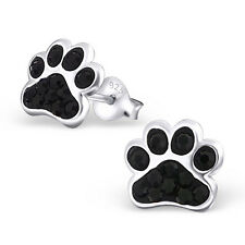 Paw Print Jet Black Crystal .925 Sterling Silver Stud Post Earrings