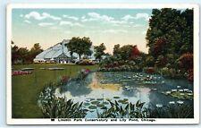 *Lincoln Park Conservatory Lily Pond Chicago Illinois Vintage Postcard B42