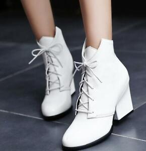 Women Thick Heels Lace-ups Wedding Shoes Boots All Size Pointed Toe New