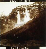 Dauphine Avalanche Francia Foto Stereo PL59L1n25 Placca Da Lente Vintage c1910