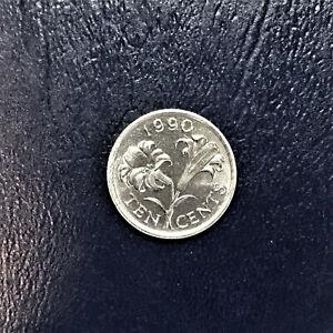 1990 Bermuda 10 Cents Dime Elizabeth II Bermuda Lily Reverse