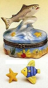 TROUT SWIMMING UPSTREAM---Porcelain Hinged-Box-----BEAUTIFULLY DONE!