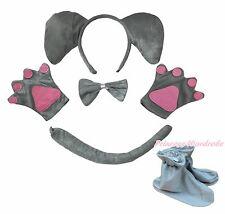 Halloween Gray Elephant Headband Bow Tail Paw Shoes 5pc School Kid Party Costume