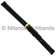 10mm Speidel Classic Lizard Black Unstitched Ladies Watch Band Regular