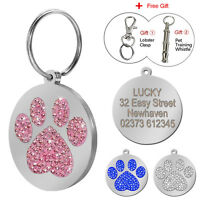 Rhinstone Crystal Round Paw Personalized Dog Tag Name Disc Engraved Free Whistle