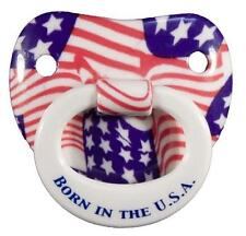 BORN IN THE USA AMERICAN FLAG NOVELTY CHILDRENS PACIFIER  baby pacifer teether