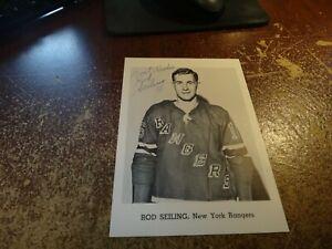 Rod Seiling hockey new york rangers autographed 5 x 7 inch vintage nhl