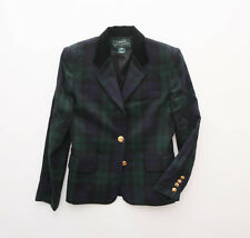 Lauren Ralph Lauren Blackwatch Plaid Equestrian Blazer Gold Buttons 4 Petite 4P