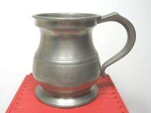 Antique Edwardian Period 1/2 Pint Bulbous Pewter Tankard Made In England