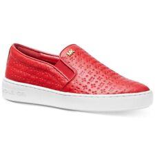 bec136467ed9 Michael Kors Keaton Bright Red Logo Embossed Leather Slip on SNEAKERS Size 7