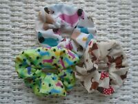 PACK OF 3 HAIR SCRUNCHIES SAUSAGE DOG SCRUNCHY TIE BAND XMAS GIFT DOGS ELASTIC