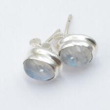 Mondstein Ohrstecker Silber 925 Ohrringe weiß blau schimmernd Sterlingsilber