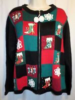 Victoria Jones Ugly Tacky Christmas Beaded Sweater Zip Up Cardigan Size L Large