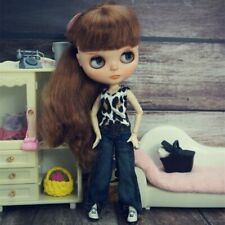 Fashion Doll Clothes Set For Blythe Doll Outfits Leopard Tank Top Denim Trousers