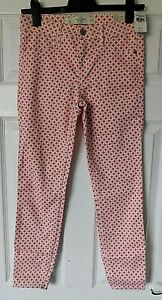 "ABERCROMBIE & FITCH Pink White Designer Trousers Size 4 27"" Waist (UK 8/10) BNWT"