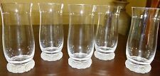 Nachtmann CLEAR GLASS FLARED TOP WATER GLASSES Frosted floral base - SET of 5
