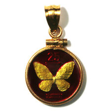 Philippines Enameled Jewelry Coin Pendant Butterfly 25 Sentimos 1994 w/Bezel