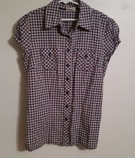 Short Sleeve Plaid Button Down Cropped Shirt Top Juniors Size Small S  Cotton