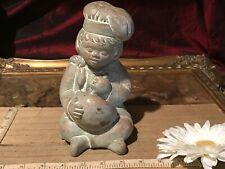 "Terracotta/Rock Sculpture Child Sitting w/Mixing Bowl Cooking 7 1/4""x4"""