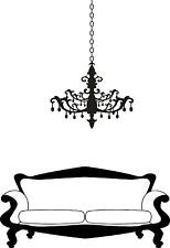 Chandalier and Couch  vinyl wall decal