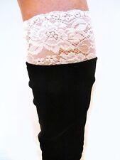New Womens Boot Cuffs Lace Trim Stretch Leg Warmer Socks