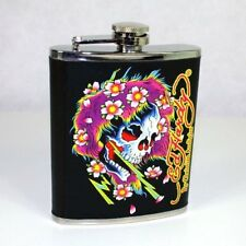 Don Ed Hardy Beautiful Ghost Leather Wrapped Flask