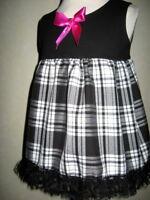 tartan baby dress Girls Black White Pink Smock Metal Party Birthday Shower Gift