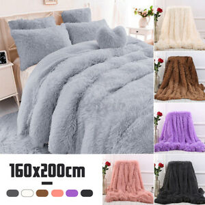 63x79'' Long Pile Warm Plush Throw Blanket Shaggy Super soft Reversible Bed Rug