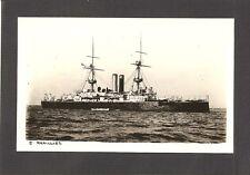 REAL-PHOTO POSTCARD:  HMS RAMILLIES - BRITISH ROYAL NAVY PRE-WW-1 BATTLESHIP