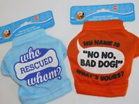 Puppy Dog T Shirts TWO Very Small Who Rescued Whom & My name is No No Size XS