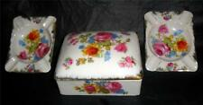 Beautiful Porcelain Cigarette Trinket Box 2 Ashtrays Hand Painted Fern Japan R2