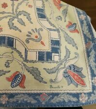"Vintage Beauville France tablecloth 89"" x 64"" blue cream mauve"