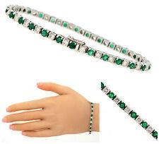 Stunning Ladies 4.16ctw Diamond Emerald 14K White Gold Bracelet