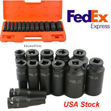 USPS Ship 13 Piece 1/2-Inch Safty Drive Metric Deep Impact Socket Set, 10-32mm